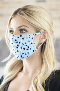 A3-3-3-ARFM6006-RPR035-BLUE COLOR SPOTS PRINT REUSABLE FACE MASKS/12PCS
