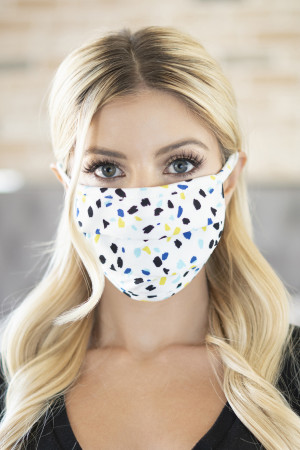 SA3-3-3-ARFM6006-RPR035-IVORY COLOR SPOTS PRINT REUSABLE FACE MASKS/12PCS