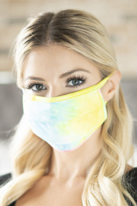 S8-5-1-ARFM6006-RTD001-BL BLUE PINK YELLOW TIE DYE REUSABLE PLEATED FACE MASKS FOR ADULTS/12PCS