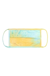 SA4-5-4-RFM6006-RTD010-TQYWWH TURQUOISE YELLOW WHITE TIE DYE REUSABLE PLEATED FACE MASK FOR ADULTS/12PCS