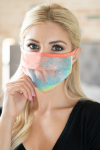 S7-8-1-ARFM6006-RTD020-COYWTQ CORAL YELLOW TURQUOISE TIE DYE REUSABLE PLEATED FACE MASK FOR ADULTS/12PCS