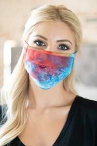 S7-8-1-ARFM6006-RTD023-AQTANCO AQUA TANGERINE CORAL TIE DYE REUSABLE PLEATED FACE MASK FOR ADULTS/12PCS