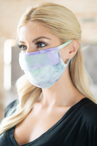 S8-4-2-ARFM6006-RTD023-MNLI MINT LILAC TIE DYE REUSABLE PLEATED FACE MASK FOR ADULTS/12PCS