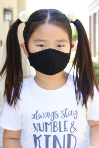 SA4-1-2-ARFM7001K-CT-BK BLACK PLAIN REUSABLE FACE MASK FOR KIDS/12PCS    *Size not intended for kids 2 years old and below *