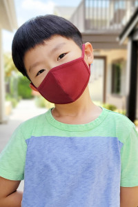 A3-3-2-ARFM7001K-CT-BU BURGUNDY PLAIN REUSABLE FACE MASK FOR KIDS/12PCS **Size not intended for kids 2 years old and below**