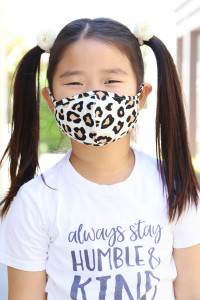 S5-7-1-ARFM7001K-RAP021-LEO-IVKH IVORY KHAKI LEOPARD PRINTED REUSABLE FACE MASK FOR KIDS/12PCS    **Not intended for kids 2 years old and below**