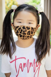 S5-7-2-ARFM7001K-RAP042-BLACK-BROWN BLACK BROWN LEOPARD PRINTED REUSABLE FACE MASK FOR KIDS/12PCS **Size not intended for kids 2 years old and below**