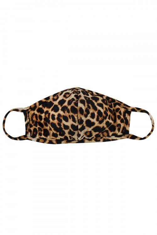 S5-7-1-ARFM7001K-RAP061- BROWN  LEOPARD PRINTED REUSABLE FACE MASK FOR KIDS/12PCS    **Not intended for kids 2 years old and below**