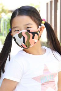 S7-7-2-ARFM7001K-RCM010-COOL CORAL OLIVE CAMOUFLAGE REUSABLE FACE MASKS FOR KIDS/12PCS  **Not intended for kids 2 years old and below **