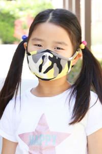 S7-7-2-ARFM7001K-RCM010-YW YELLOW CAMOUFLAGE REUSABLE FACE MASKS FOR KIDS/12PCS  **Not intended for kids 2 years old and below **