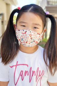 S4-7-1-ARFM7001K-RFL083-IVORY- FLORAL REUSABLE FACE MASK FOR KIDS/12PCS **Size not intended for kids 2 years old and below**