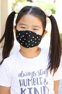S5-7-1-ARFM7001K-RPD002-BK BLACK POLKA DOTS PRINTED REUSABLE FACE MASK FOR KIDS/12PCS    **Not intended for kids 2 years old and below**
