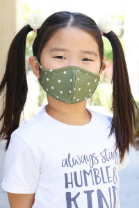 S5-7-1-ARFM7001K-RPD002-OL OLIVE POLKA DOTS PRINTED REUSABLE FACE MASK FOR KIDS/12PCS    **Not intended for kids 2 years old and below**