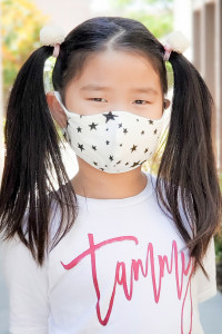 S5-4-1-ARFM7001K-RPR028-IV IVORY STAR PRINTED REUSABLE FACE MASKS FOR KIDS/12PCS ** Not intended for kids 2 years old and below**