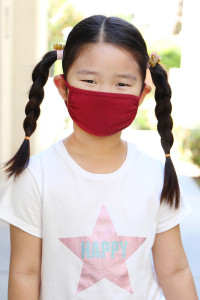 S8-6-2-ARFM7002K-CT-BU BURGUNDY PLAIN REUSABLE FACE MASK FOR KIDS/12PCS **Size not intended for kids 2 years old and below**
