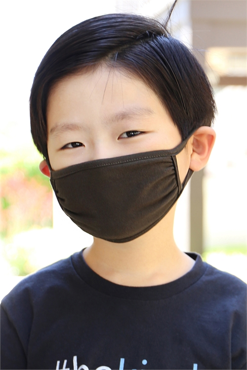 S8-4-2-ARFM7002K-CT-DOL- DARK OLIVE PLAIN REUSABLE FACE MASK FOR KIDS/12PCS **Size not intended for kids 2 years old and below**