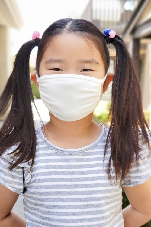 SA4-1-3-ARFM7002K-CT-IV IVORY PLAIN REUSABLE FACE MASK FOR KIDS/12PCS    *Size not intended for kids 2 years old and below *