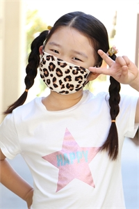 S8-4-2-ARFM7002K-RAP020-BROWN- LEOPARD REUSABLE FACE MASK FOR KIDS/12PCS **Size not intended for kids 2 years old and below**