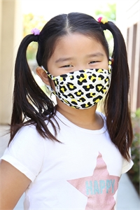 S8-4-2-ARFM7002K-RAP021-YELLOW LEOPARD SKIN PRINT REUSABLE FACE MASKS FOR KIDS/12PCS **Size not intended for kids 2 years old and below**
