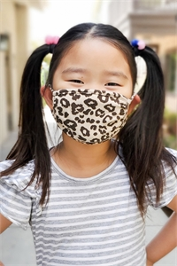 S8-6-2-ARFM7002K-RAP051-TAUPE- LEOPARD REUSABLE FACE MASK FOR KIDS/12PCS **Size not intended for kids 2 years old and below**