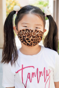 A3-3-3-ARFM7002K-RAP061-BR BROWN LEOPARD SKIN PRINT REUSABLE FACE MASK FOR KIDS/12PCS    **Not intended for kids 2 years old and below**