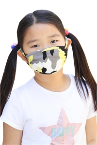 S8-4-2-ARFM7002K-RCM010-YW- YELLOW CAMOUFLAGE REUSABLE FACE MASKS FOR KIDS/12PCS **Size not intended for kids 2 years old and below**