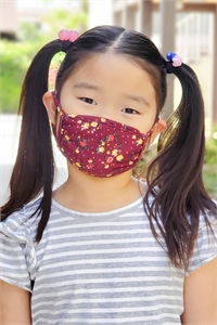 S8-6-2-ARFM7002K-RFL021-BURGUNDY- FLORAL PRINTED REUSABLE FACE MASK FOR KIDS/12PCS **Size not intended for kids 2 years old and below**