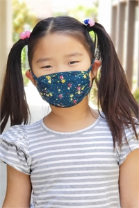 S8-6-2-ARFM7002K-RFL021-HUNTER- FLORAL PRINTED REUSABLE FACE MASK FOR KIDS/12PCS **Size not intended for kids 2 years old and below**