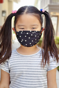 A3-3-3-ARFM7002K-RPD002-BK BLACK POLKA DOTS PRINTED REUSABLE FACE MASK FOR KIDS/12PCS    **Not intended for kids 2 years old and below**