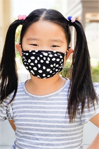 S8-4-2-ARFM7002K-RPR019-BLACK- DALMATIAN PRINTED REUSABLE FACE MASK FOR KIDS/12PCS **Size not intended for kids 2 years old and below**