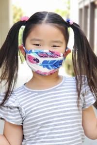 A3-3-3-ARFM7002K-RPR023-FUBL FUCHSIA BLUE FEATHER PRINTED REUSABLE FACE MASK FOR KIDS/12PCS    **Not intended for kids 2 years old and below**