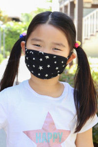 SA4-1-2-ARFM7002K-RPR028-BK BLACK STAR PRINT REUSABLE FACE MASKS FOR KIDS/12PCS    **Not intended for kids 2 years old and below**
