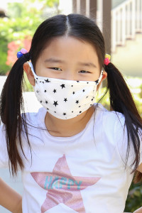 S4-4-3-ARFM7002K-RPR028-IV IVORY STARS PRINT REUSABLE FACE MASKS FOR KIDS/12PCS    **Not intended for kids 2 years old and below**