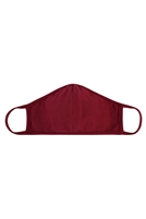 S8-7-1-RFM8001-CT-BU-BURGUNDY PLAIN REUSABLE FACE MASK FOR ADULTS WITH FILTER POCKET/12PCS