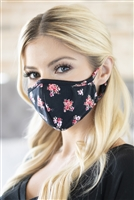 S8-6-4-RFM8001-RFL079-BLACK-FLORAL REUSABLE FACE MASK FOR ADULTS WITH FILTER POCKET/12PCS