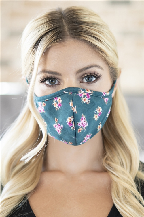 S8-6-4-RFM8001-RFL079-GREEN-FLORAL REUSABLE FACE MASK FOR ADULTS WITH FILTER POCKET/12PCS