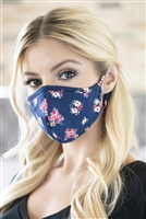 S8-6-4-RFM8001-RFL079-NAVY-FLORAL REUSABLE FACE MASK FOR ADULTS WITH FILTER POCKET/12PCS