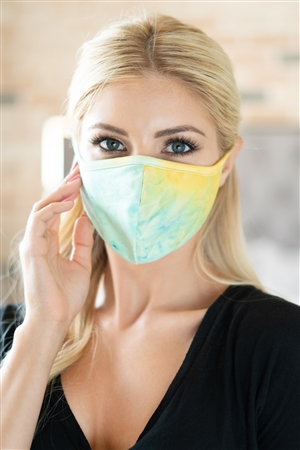 S8-7-4-RFM8001-RTD010-TQYW- TIE DYE REUSABLE FACE MASKS FOR ADULTS WITH FILTER POCKET - TURQUOISE YELLOW/12PCS