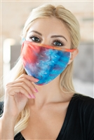 SA3-7-3-RFM8002-RTD023-AQTBRCO- TIE DYE REUSABLE FACE MASK FOR ADULTS WITH FILTER POCKET-AQUA TANGERINE BROWN CORAL/12PCS