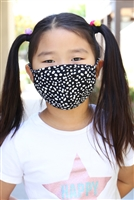 S4-10-3-RFM9002K-RAP074-BK-BLACK DALMATIAN REUSABLE FACE MASK FOR KIDS WITH FILTER POCKET/12PCS