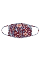 S7-7-2-RFM9002Y-RFL076-BURGUNDY - FLORAL PRINTED REUSABLE FACE MASK FOR YOUTH WITH FILTER POCKET/12PCS