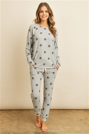 S15-2-1-RFP4029-RPR009-HGBK - BRUSHED STAR PRINT TOP AND JOGGERS SET WITH SELF TIE- HEATHER GREY/BLACK 1-2-2-2
