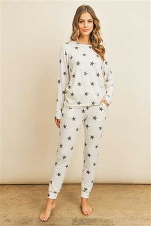 SA3-7-2-RFP4029-RPR009-IVBK - BRUSHED STAR PRINT TOP AND JOGGERS SET WITH SELF TIE- IVORY/BLACK 1-2-2-2