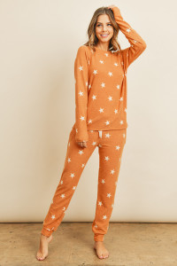 S15-2-1-RFP4029-RPR009-TR - BRUSHED STAR PRINT TOP AND JOGGERS SET WITH SELF TIE- TERRACOTA 1-2-2-2