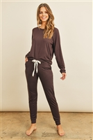 S13-3-1-RFP4031-DTYB-BWN - SOLID BRUSHED TOP AND JOGGERS SET WITH SELF TIE- BROWN 1-2-2-2