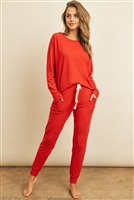 S13-7-2-PPP4005/RFP4031-DTYB-RD - SOLID BRUSHED TOP AND JOGGERS SET WITH SELF TIE- REAL RED 1-2-2-2