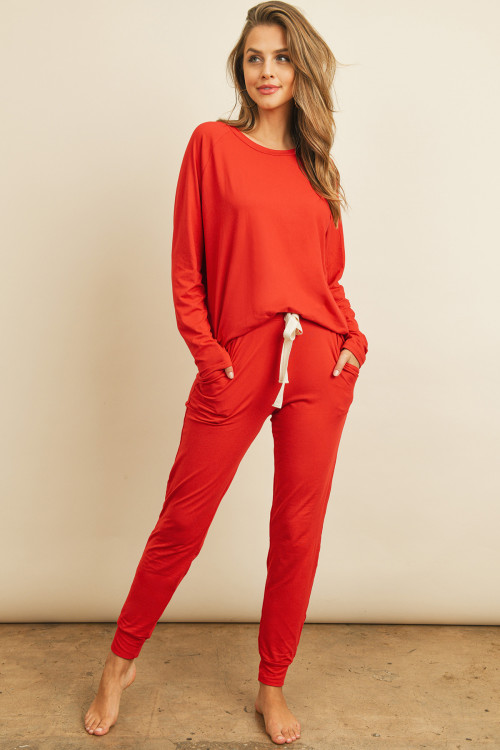 S11-16-3-PPP4005/RFP4031-DTYB-RLRD - SOLID BRUSHED TOP AND JOGGERS SET WITH SELF TIE- REAL RED 1-2-2-2