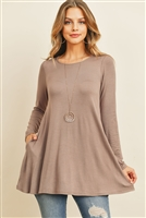 S11-9-1-RFT2001LS-RSJ-DKMC - SOLID LONG SLEEVED ROUND NECK KNOT TOP- DARK MOCHA 1-2-2-2