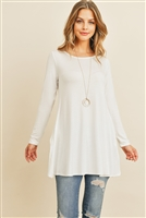 S11-9-1-RFT2001LS-RSJ-IV - SOLID LONG SLEEVED ROUND NECK KNOT TOP- IVORY 1-2-2-2