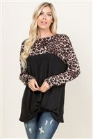 S9-12-2-RFT2005LS-RAP002C-BKBWN-1 - LEOPARD CONTRAST TWISTED FRONT TUNIC- BLACK/BROWN 2-2-1